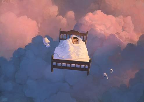 ilustração cama voando em nuvens
